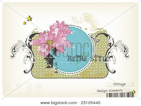 retro design-elements and textures combined to a collage-style vintage label