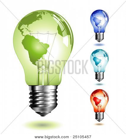 vector-lightbulb with world-map, four different color-versions