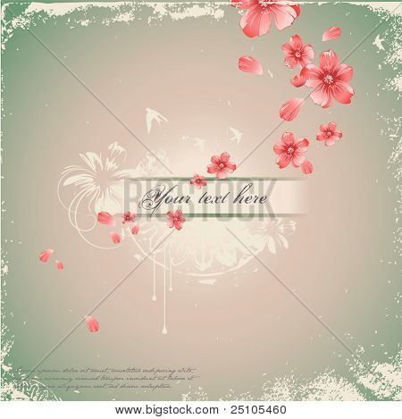 romantic grunge background with handpainted floral elements ans swallows