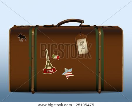 around the world! - realistic illustration of a vintage suitcase with tag and different stickers Please see img.no. 26261566 for other detailed stickers.
