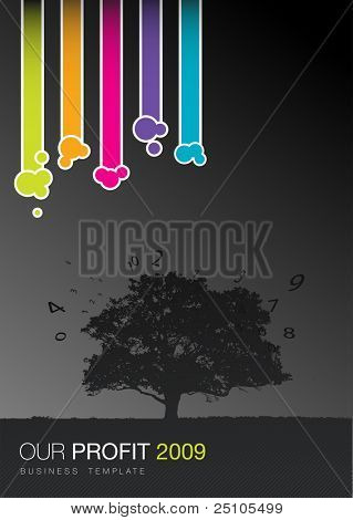 colorful fancy business template with tree and flock of figures