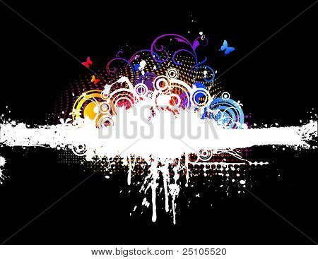 white and rainbow-colored splattered background with floral elements
