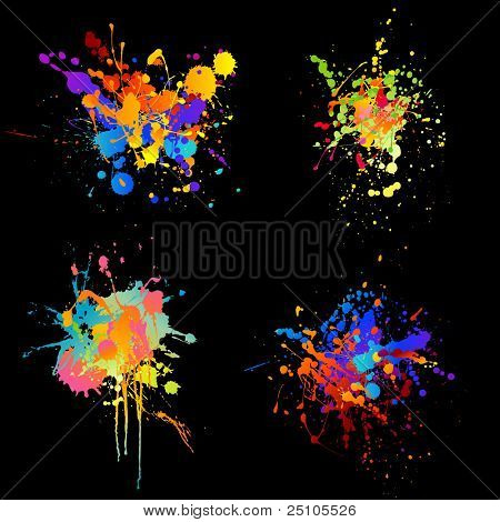 set of four rainbow-colored ink splats