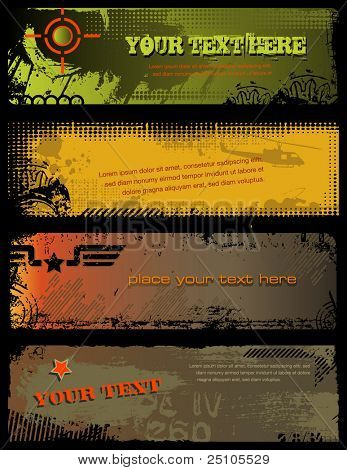 set of 4 grungy military banners