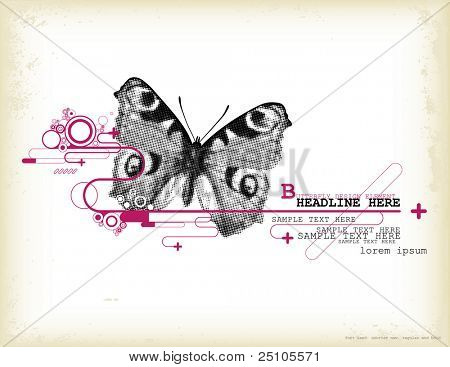 graphic design element with halftone butterfly