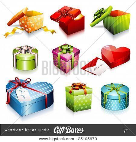 Satz von neun bunte Vektor-Geschenkboxen