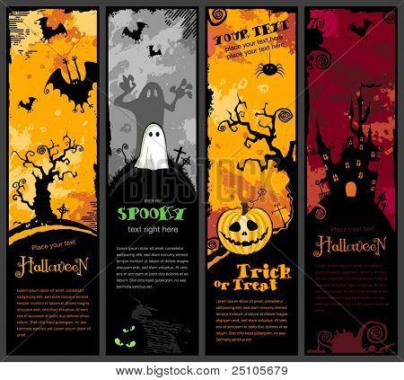 Satz von vier vertikale Halloween-Banner