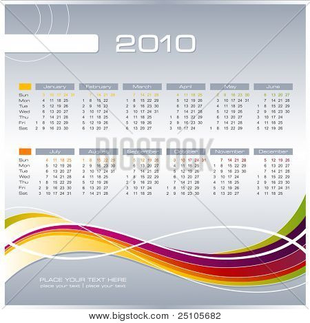 simple modern calendar for 2010 - starts sunday