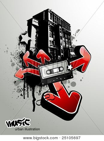 urban illustration with arrows and music tape