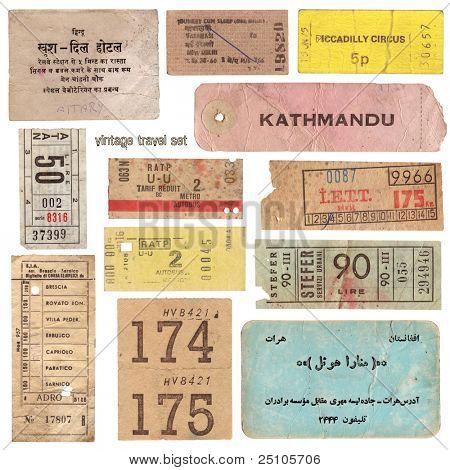 Sammlung von Jahrgang Karten aus aller Welt und andere Reisedokumente