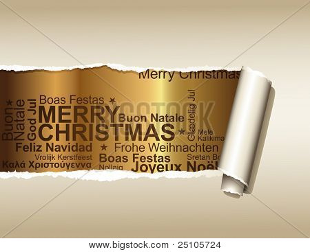 ripped paper displaying a golden background with christmas greetings in different languages