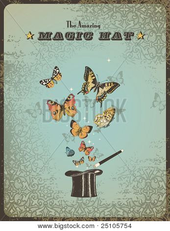 Magic Poster mit Hut, Stab und Schmetterlinge