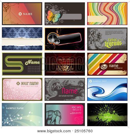 conjunto de tarjetas horizontales sobre varios temas