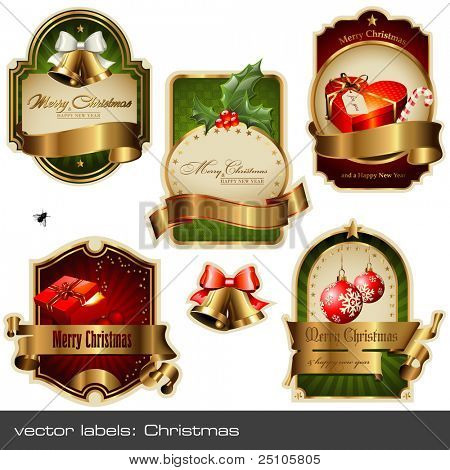 vector set: christmas labels