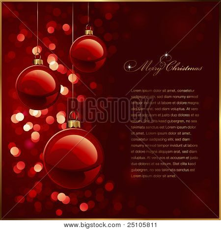 christmas background with red baubles against a glittering red background (no mesh or transparencies used)