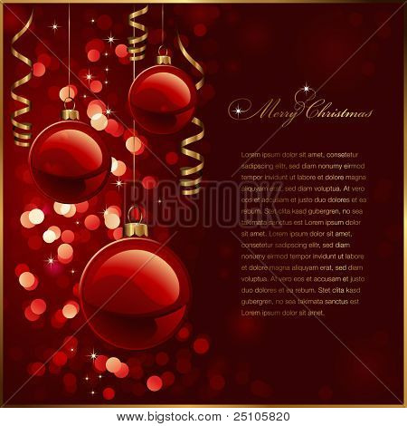 christmas background with red baubles, golden streamers and defocused lights (no mesh or transparencies used)