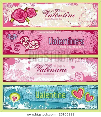 set of four cute grungy valentine's banners