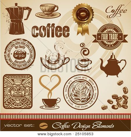 Vector Set: Kaffee-Design-Elemente
