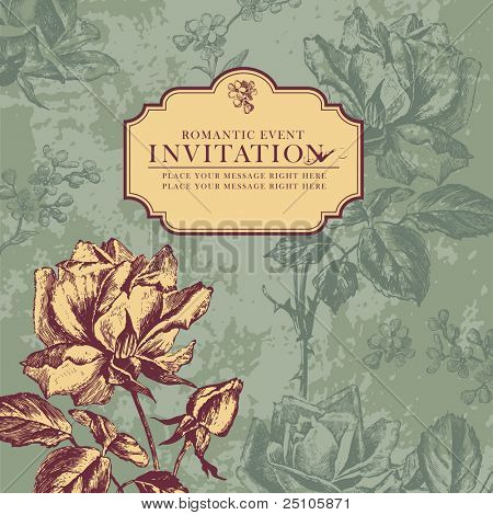romantic floral card with vintage roses
