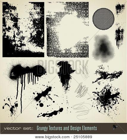 coleção de texturas grungy e elementos de design