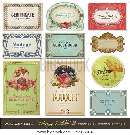 vector set: vintage labels set 2 - inspired by antique originals
