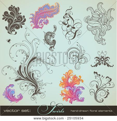 vector set: swirls - variety of handdrawn floral design elements in different styles