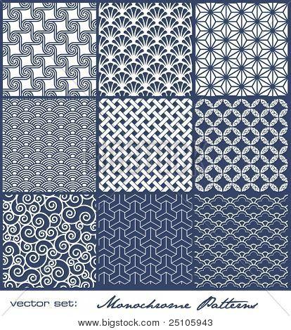 conjunto de nove padrões geométricos monocromáticos (perfeitamente lado a lado)