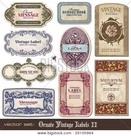 set of ornate vintage labels
