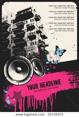 retro urban party flyer template with building, speakers and grungy textbox