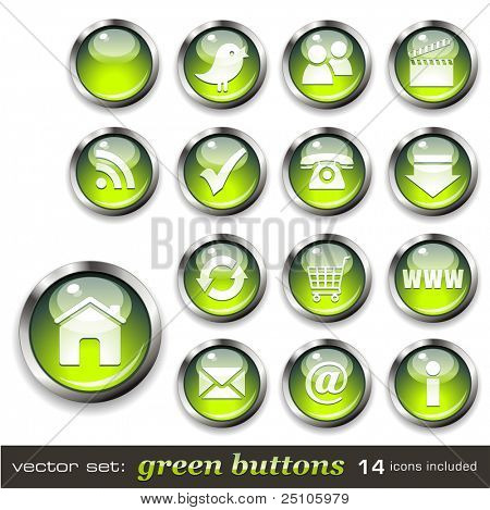 vector set: green buttons - aqua-style glossy buttons, blank and with 14 icons