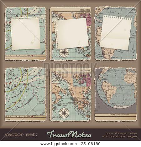 Notas de viaje - páginas de cuaderno roto grungy en mapas antiguos