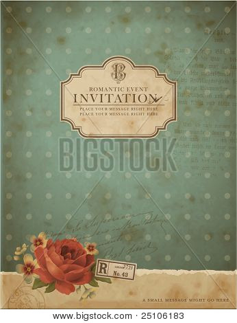 scrapbook-style retro background or greeting card with stained paper, label and flowers