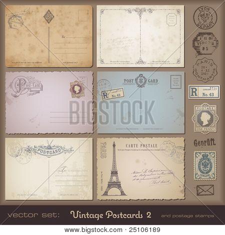 antiguos postales 2 - set de 6 diseños de tarjeta postal vintage y sellos