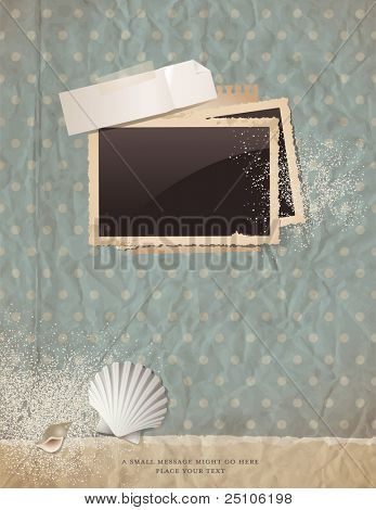 summer scrap background with old paper, photoframe, shells and sand - perfect for your holiday layout; just insert your pics and add your own ephemera
