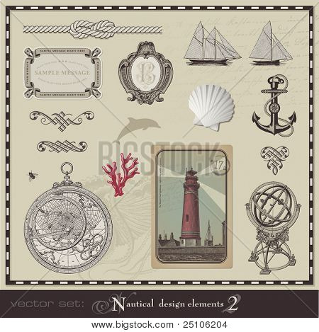 vector set: nautical design elements (2)