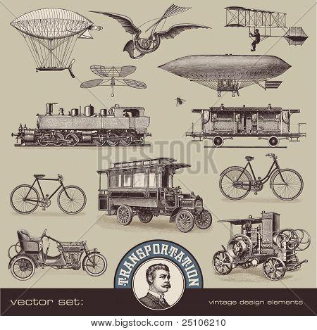 Vintage medios de transporte - set 2