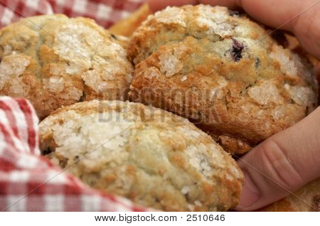Blueberry Muffins In Basket