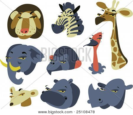 wild safari african animal set of 9: lion, zebra, giraffe, elephant, baboon, ostrich, mongoose, hippo, rhino