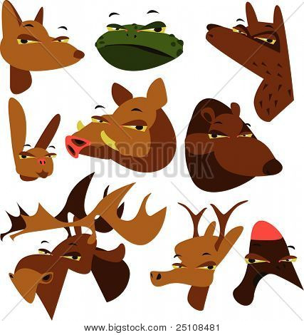 wild wood animal set of 9: fox, toad, wolf, hare, boar, bear, elk, deer and woodpecker