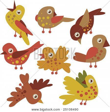 vector conjunto de aves dos desenhos animados