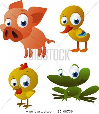 Vektor-Ferkel, Huhn, Ente, Frosch