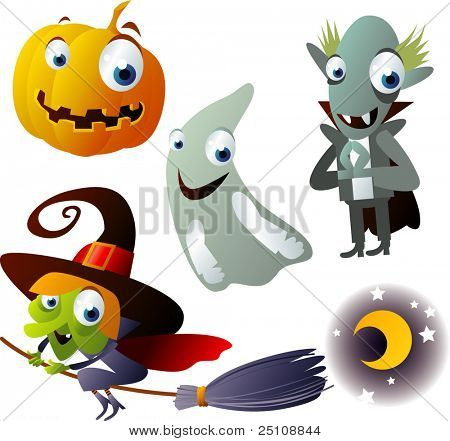 vector halloween set: pumpkin, witch, vampire, ghost