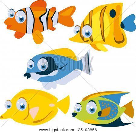 vector tropical fish set