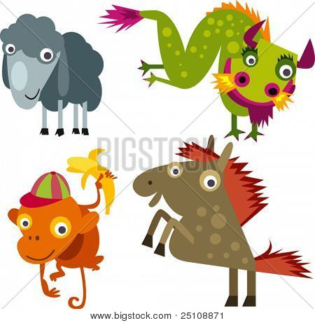 animal set 18 chinese year horoscope: sheep, dragon, monkey, horse