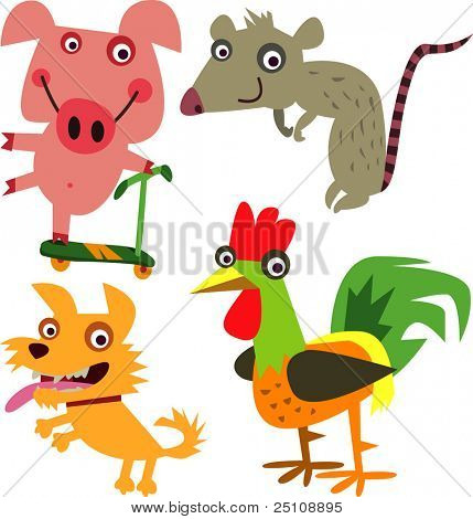 vector animal set 27: chinese year horoscope: pig, rat, dog and rooster