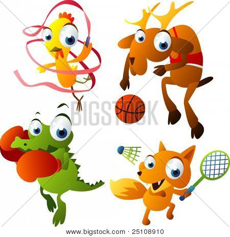 vector animal set 40: games set: chicken, deer, crocodile, fox