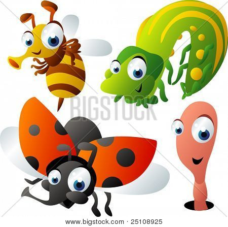 vector animal set 47: bee, caterpillar, ladybug, worm