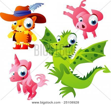 animal Vector set 50: gato, cochinillo, Dragón, unicornio