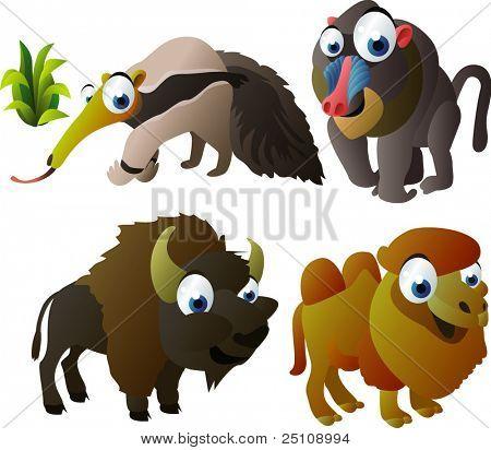 vector animal set 91: anteater, baboon, bison, camel