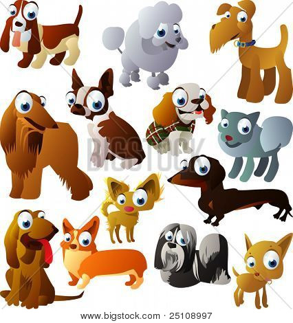 vector animal set 93: dogs
